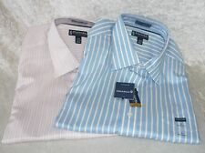 Stafford dress shirt easy care cotton dobby poplin striped men's size L NEW
