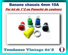*** LOT DE 1 - 2 OU 5 BANANE CHASSIS ISOLEE FEMELLE 4MM / 10A - NEUVES ***