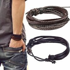 Newly GIFT MENS LEATHER HEMP SURFER CUFF CHARM BRACELET BANGLE WRISTBAND BLACK