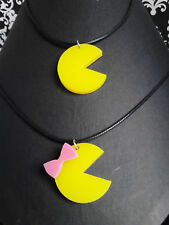 Yellow Mr OR Miss Pacman Pink Bow Pendant Necklace Ms Pac-Man Retro Gamer 80's