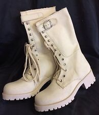 GILRS/LADIES MILITARY CANVAS HEELED TRAINER STYLE CALF BOOT Size's UK 2-3-4-5