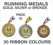 PACK OF 15 (0.65p each) Running Medals Budget & Ribbon Metal Ref: GMM7150-MR1