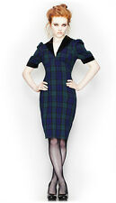 Spin Doctor Hell Bunny Tartan Pencil Dress Bustle 1940's Vintage Goth Blue Green