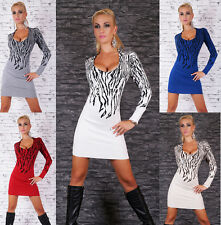 Sexy Women's Long Jumper Wool mix Sweater Pullover Knitting Mini Dress 5 colours