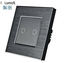 I LumoS Onyx Edition Brushed Aluminium Touch Dimmer OR Remote LED Light Switches
