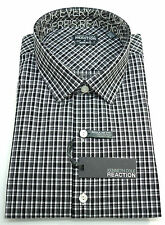 Kenneth Cole Reaction Black and White Plaid Dress Shirt - Licorice