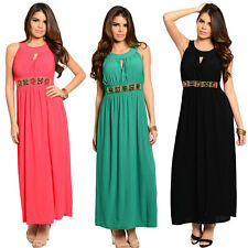 FASHION WOMEN SLEEVELESS HALTER CASUAL EVENING PARTY LONG BOHO MAXI DRESS S-XL