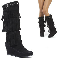 Women Black Tassel Stud Triple Fringe Knee High Heel Hidden Wedge Moccasin Boots
