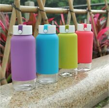 Just Life Simida Portable Glass Water Bottle with Silicone Sleeve BPA Free,14oz