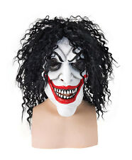 Adults Fancy Dress Smiling Sinister Clown Creepy Mask Joker KISS Hair Halloween