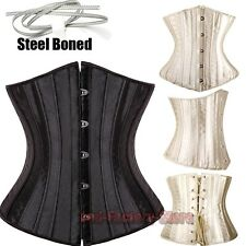 28 Spiral Steel boned Underbust Black/Gold Corset Lace Up Satin Waist Cincher S1