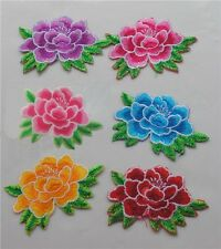10PCS Embroidered Color Rose Flower Patch iron or sewing on Applique 8.5cmX5.5cm