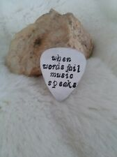 When Words Fail Music Speaks Guitar Pick Necklace OR Keychain Custom HandStamped