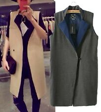 women's Color block Collar Long Boyfriend Vest Jacket waistcoat Gilet Gray Khaki