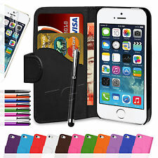 Book Flip Wallet Leather Case Cover & Protector For APPLE iPhone 5 5S 5c 4 4S