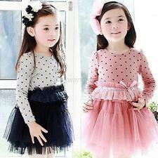 Kids Girls Crew Neck Long Sleeve Polka Dots Lace Tulle Tutu Skirt Princess Dress