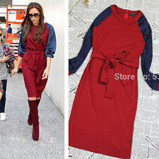 High Quality Casual Women Contrast Saddle Sleeve Generous Straight Tied Dress805