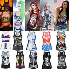 WOMEN'S Quality Digital Graphic Print Tank Top Blouse Gothic Vest Clubwear Style