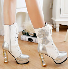 Shiny Pumps Rhinestone Lace Up Shoes Lady's Platform High Block Heels Ankle Boot
