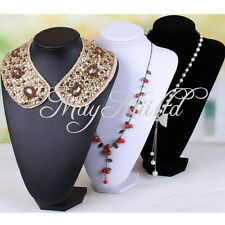 NEW Black White PU Leather Jewellery Bust Necklace Earring Display Stand M