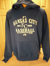 Majestic KANSAS CITY ROYALS Authentic THERMA BASE Hooded Jersey SWEATSHIRT ROYAL