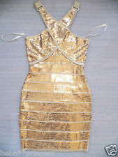 NWT bebe gold sequin striped X neck sweater bandage top sparkle dress XS S M L