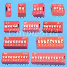 10pcs 2.54mm Red Pitch Slide Type DIP Switch 1-Bit 2-Bit 3-Bit 4-Bit 5-Bit 6-Bit