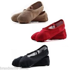 GIRLS WOMENS DANCE BALLET CANVAS & LEATHER SHOES KIDS CHILDRENS SLIPPERS FLATS