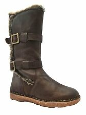 Lotus Sard Women's Brown Leather Warm Lined Buckle Mid Calf Biker Boots New
