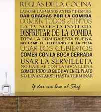 Reglas de la cocina spanish vinyl wall decal home sticker decoration US seller