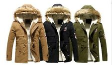 Me's Winter warm Long Trench Coat Jacket Faux Fur Hooded Parka Overcoat