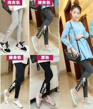 Cute Korean Style Lace Up Side Cotton Stretchy Leggings Pants Tights O/S @ZY005