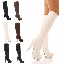 LADIES WOMENS STRETCH PLATFORM BOOTS SEXY LONG LEG ZIP FANCY DRESS SHOES SIZE