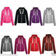 Ladies Plain Zip Hoodie Womens Sweatshirt Fleece Hoody Coat Jacket Casual Top