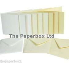 "Small Square Card Blanks & Envelopes 130mm, 5"" . White, Ivory, Cream, Textured"