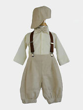 New Baby Toddler Boys Knickers Ivory Tan Vintage Set Suit Outfit Christmas