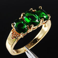 Size 6-9 Fancy Jewelry Lady's 10KT Gold Filled Three-Stone Green Ring Gift-HOT