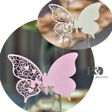 Laser Cut Butterfly Heart Shaped Glass Place Card Holders Wedding Party Favor