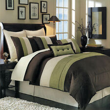 Luxury Stripe Bedding Green and Brown Queen Size 8 Piece Comforter Set