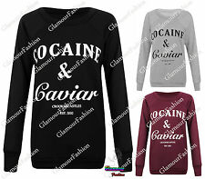 NEW WOMENS COCAINE & CAVIAR TEXT PRINT SLOGAN LADIES JUMPER SWEATSHIRT TEE TOP