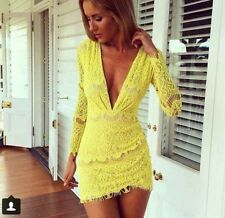 Yellow lace plunge v neck bodycon dress celeb club party dress special occasion
