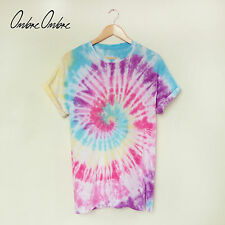 Tie Dye T Shirt Rainbow Die Top Hipster Skate Festival Ombre Baggy Cotton Spiral