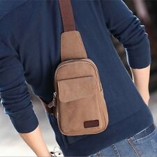 Men's Small Canvas Shoulder Hiking Fanny Crossbody Bicycle Bag Rucksack Backpack