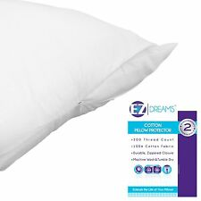 EZ Dreams King Size 100% Cotton Pillow Protector: 200 Thread Count, Zippered