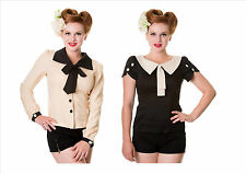 Banned Vintage Button Bow Blouse Black Ivory 1950's Retro Rockabilly Pin Up New!