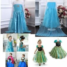 2015 HOT Frozen Kids Girls Costume Cosplay Party Princess Elsa Anna Fancy Dress