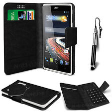 Black Leather Suction Wallet Flip Mobile Phone Case For Various Acer Models