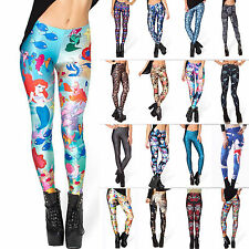 Women's 3D Graphic Print Punk Casual Stretchy Slim Pencil Tight Leggings Pants