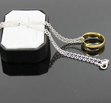 LOTR All Unisex Gold Titanium One Ring #6-#12 and Chain Necklace 50cm Long HOT