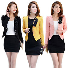 Women Slim Flower Long Sleeve Casual OL Jacket Suit Ladies Short Coat Tops